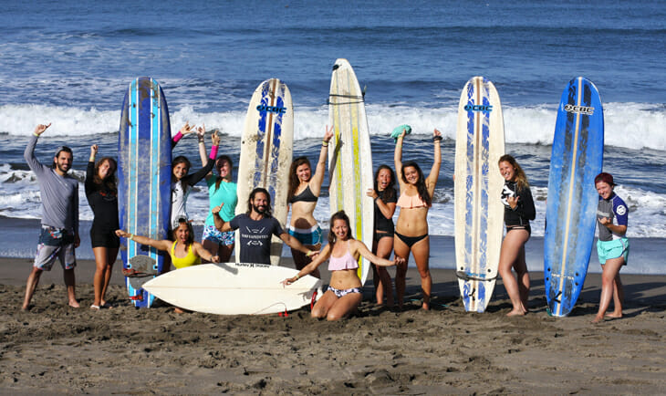 groupe surf plage