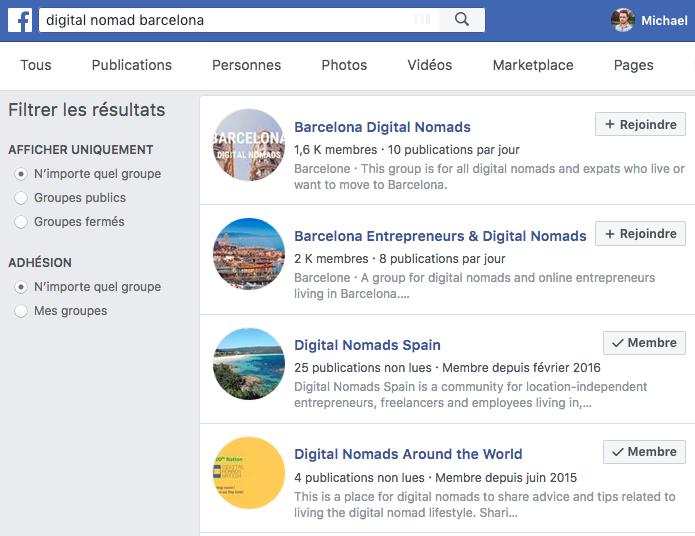 Groupe Facebook Digital Nomad Barcelone
