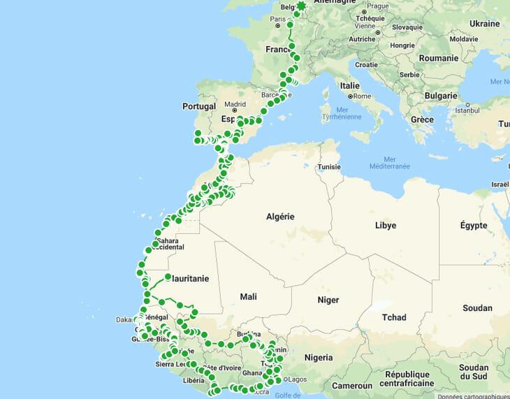 carte voyage afrique de l'ouest